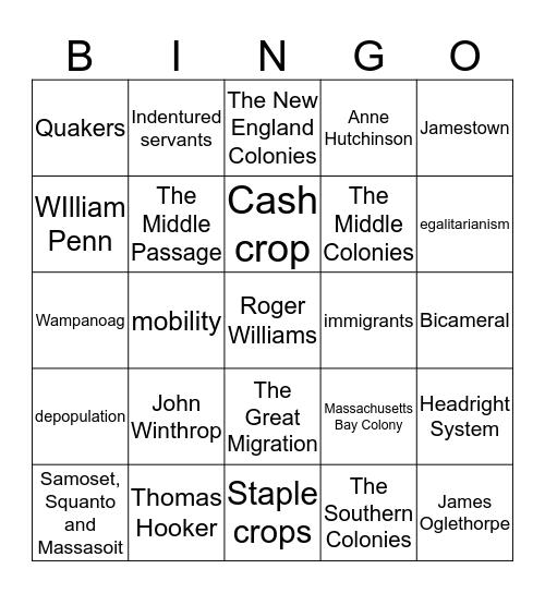 The American Colonies Bingo Card