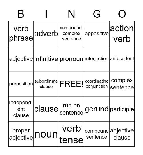 Language Terms Bingo Card