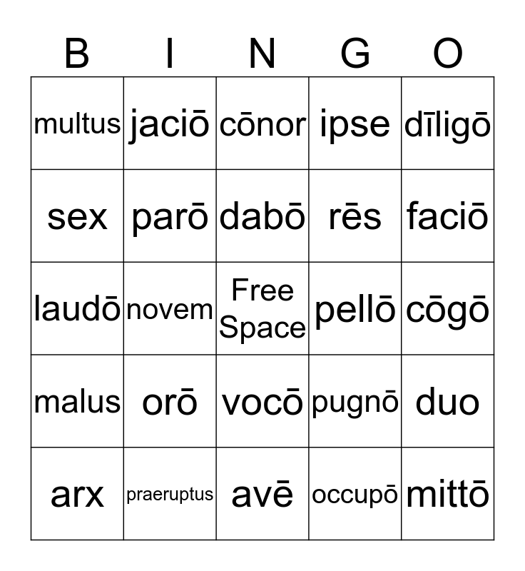 Latin Bingo Card