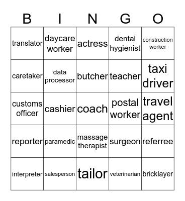 Jobs & occupations Bingo Card