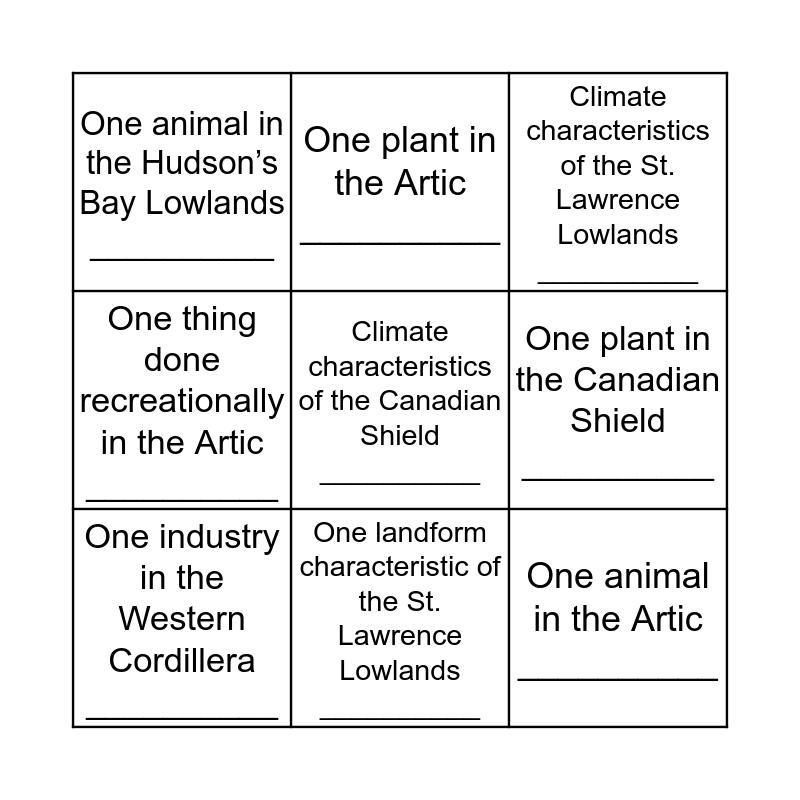 Canada's Physical Regions Bingo Card