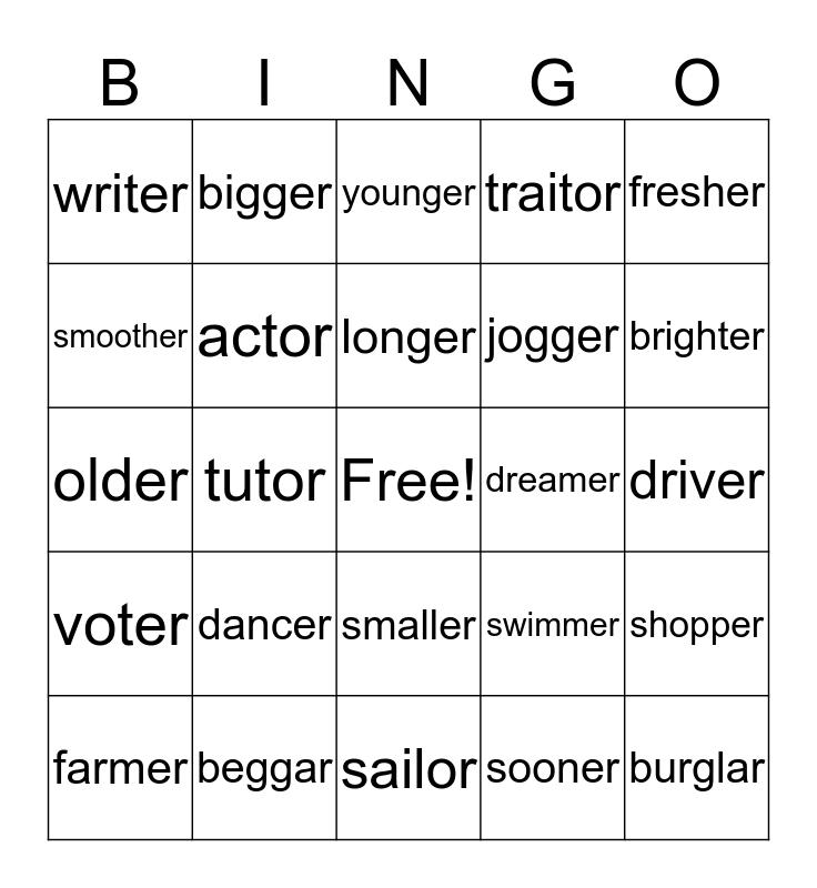 Alan's Sort #32 Bingo Card