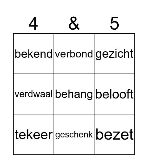 woorden met ge-, te-, be-, ver- Bingo Card