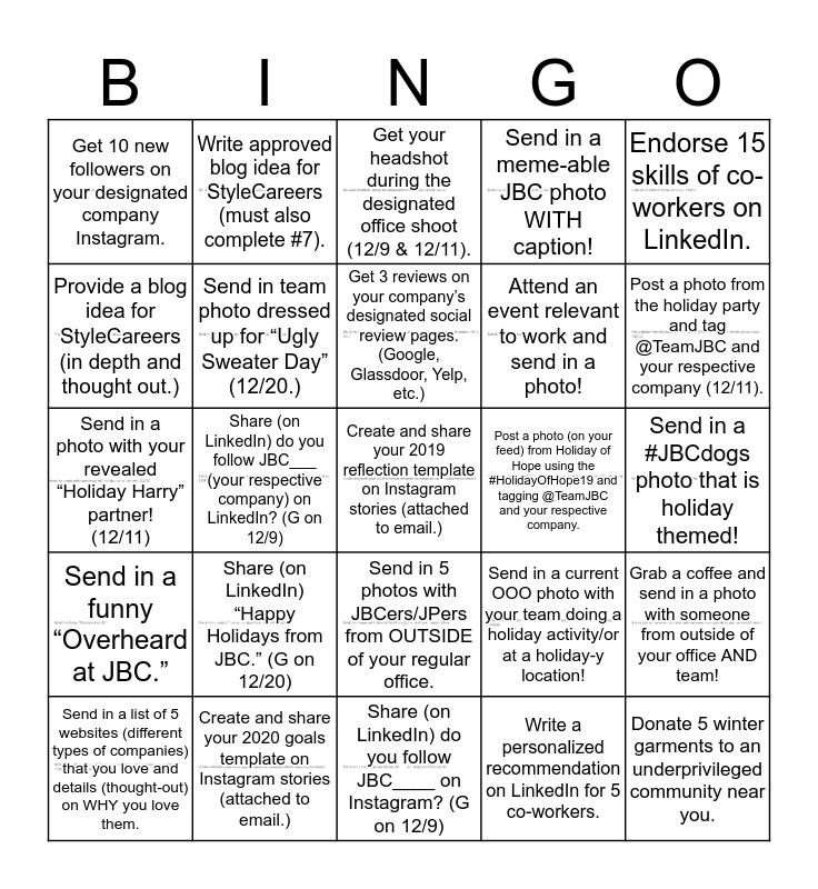 JBC Social Bingo: Holiday Edition  Bingo Card