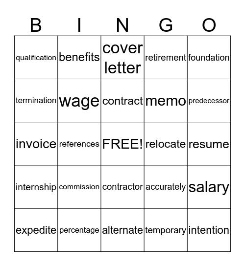 Job Market Bingo Card