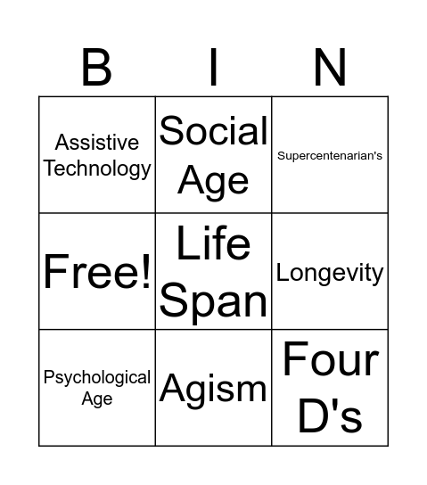 Old People Bingo Card