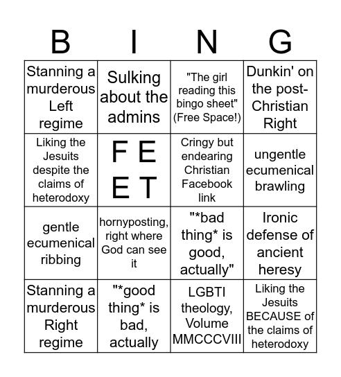 eSCATological Bingo! Bingo Card