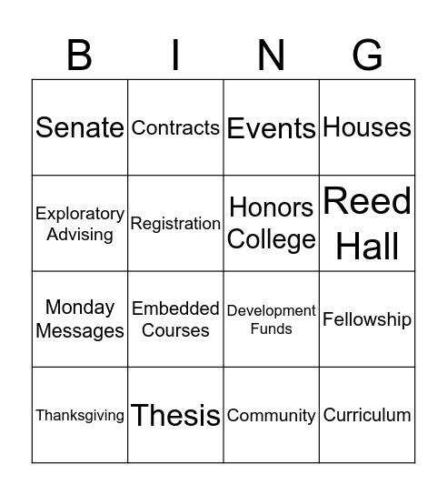 Honors Bingo Card