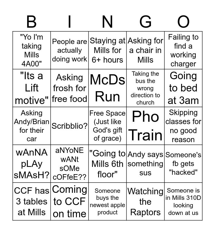 CCF Bingo Card