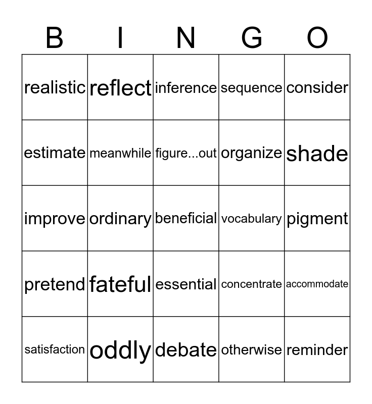 Mixed Bag Vocabulary Bingo Card