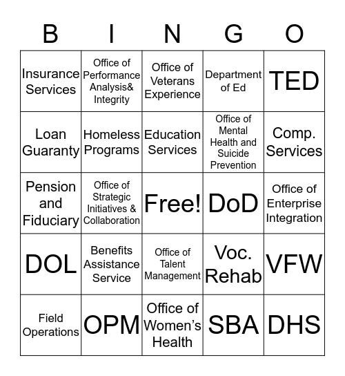 Transition Bingo Card