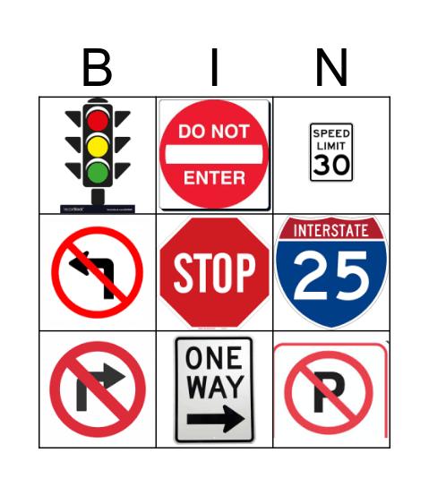 Road Sign Bingo! Bingo Card