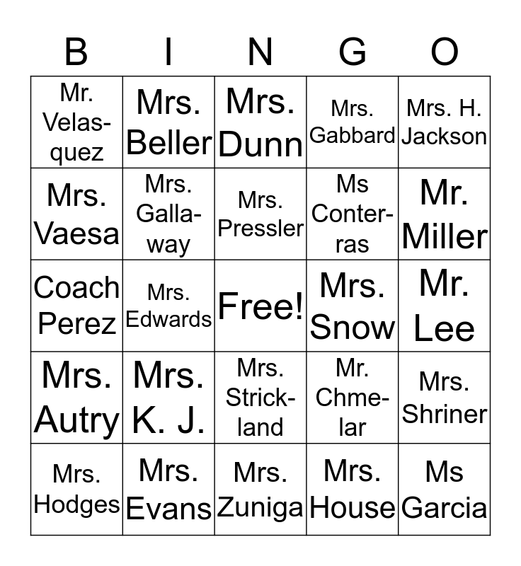 FIS Special People in YOUR Life!!  Bingo Card