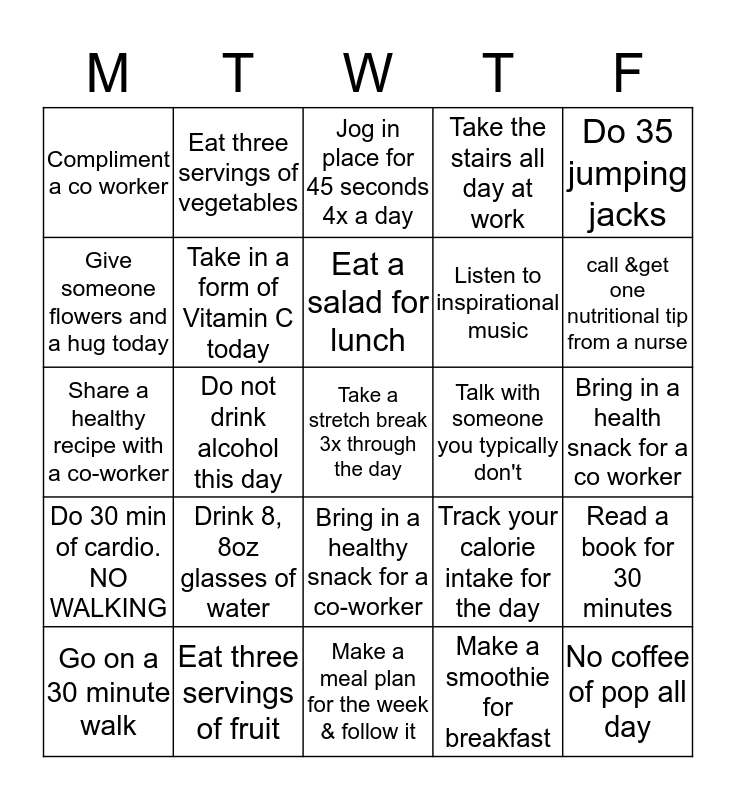HEARTBEAT 5000 FITNESS BINGO Card