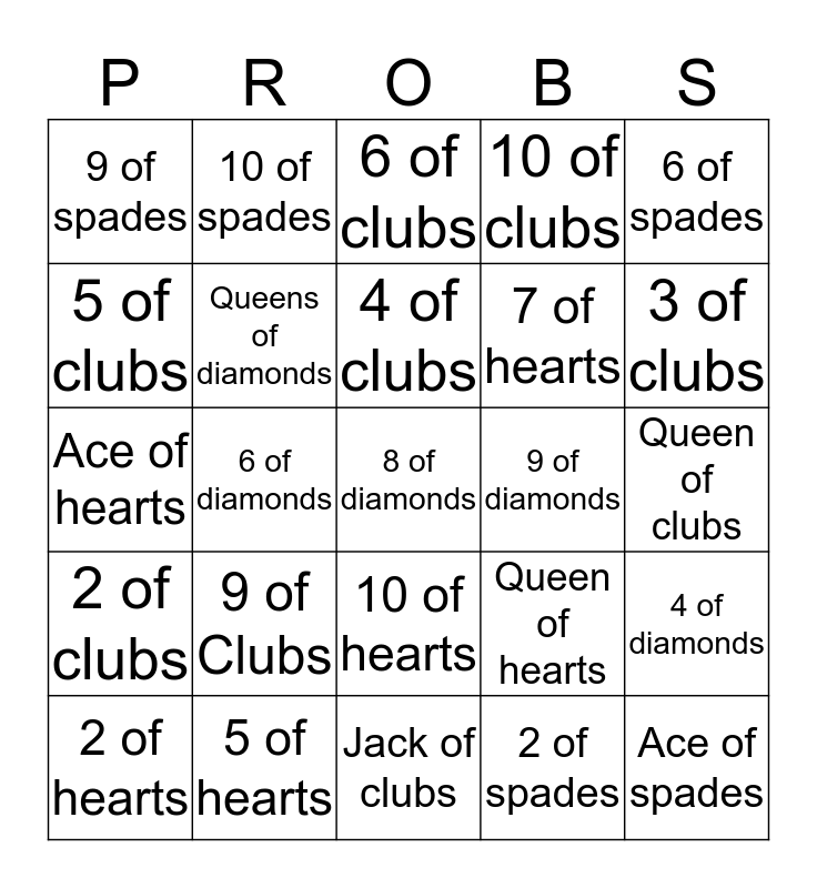 PROBABILITYS Bingo Card