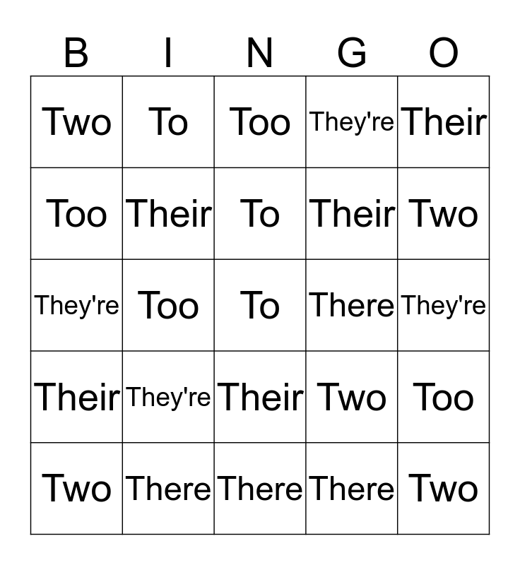 Too Many Twos BINGO! Bingo Card