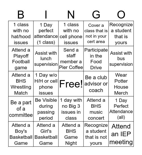 BHS Potter House Bingo Card