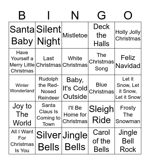 Christmas Music Bingo Card