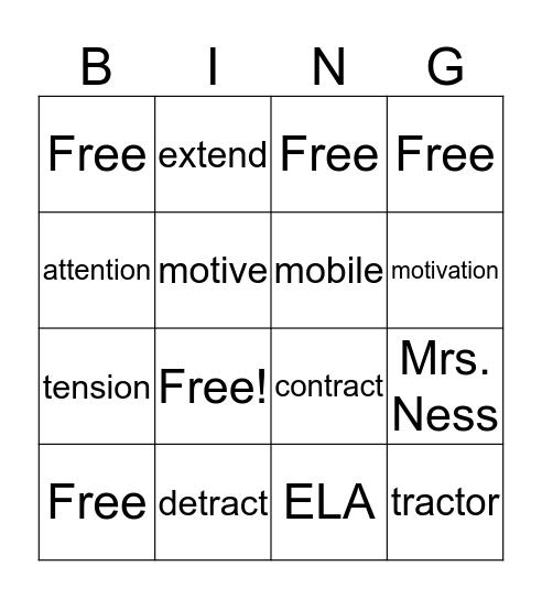 Unit 7 Vocab Bingo Card