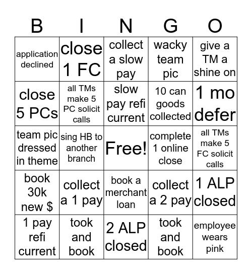 Loan Bingo Card