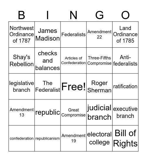 US Constitution Bingo Card