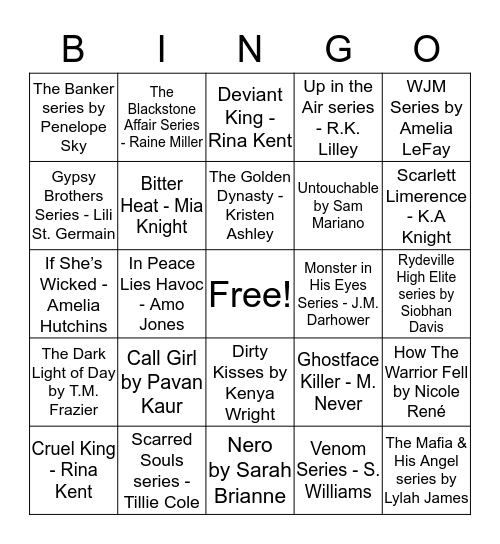 L_V BookShelf's  Bingo Card