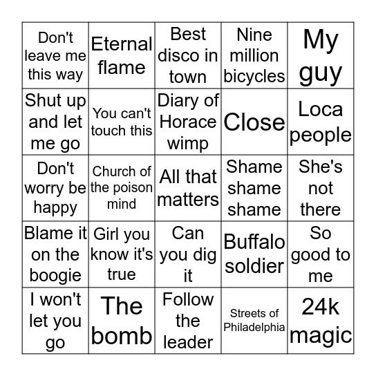 GARY'S MUSIC QUIZ Bingo Card