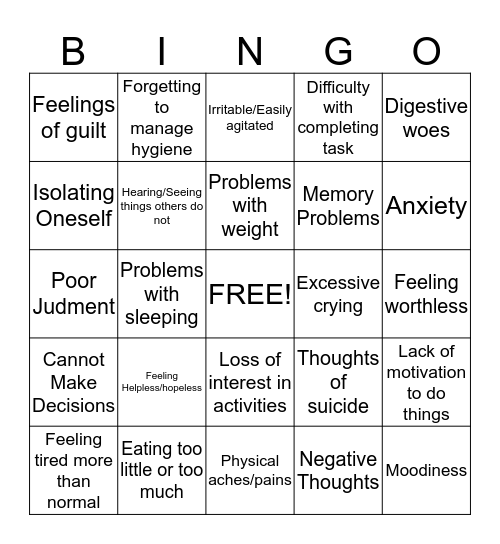 Symptoms of Depression Bingo Card