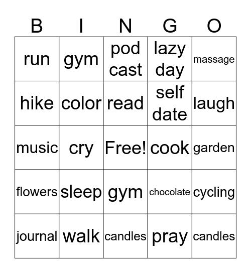 Self Care Bingo Card