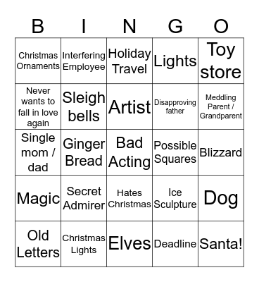Hallmark Christmas Movies Bingo Card