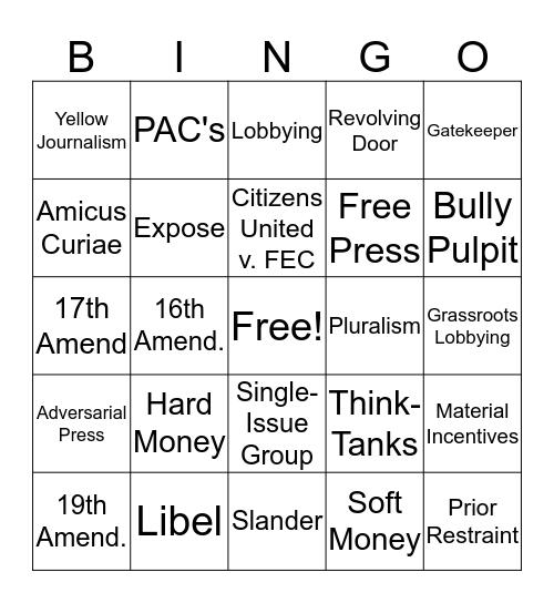 Unit 5 Terms  Bingo Card