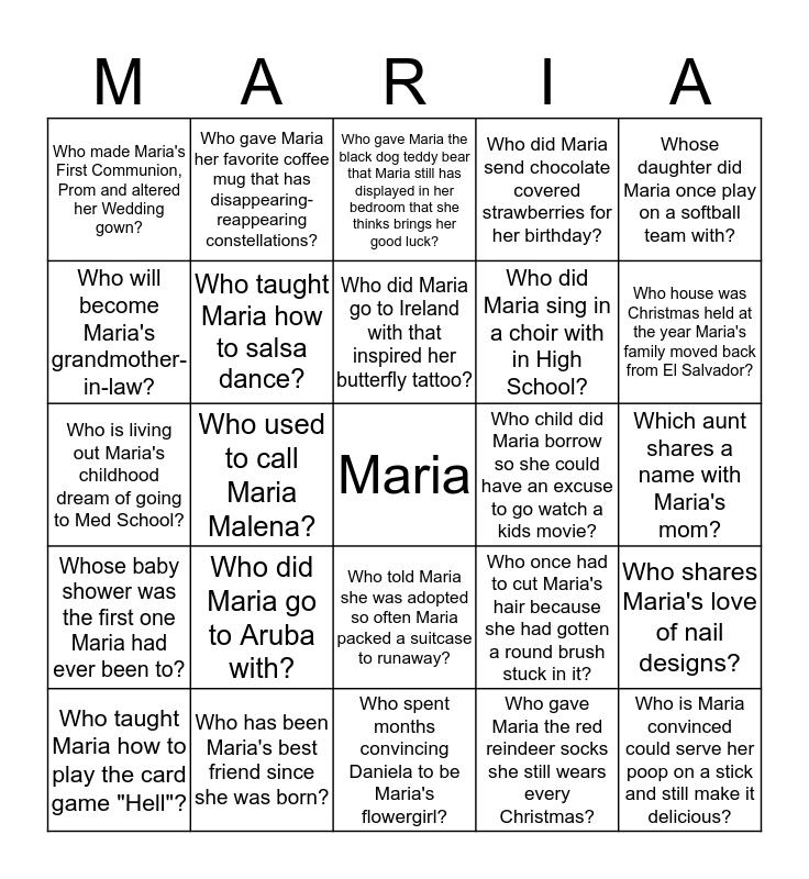 Maria's Bridal Shower Bingo Card