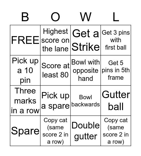 Bowling Bingo Card