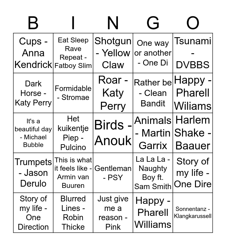 Intro-Bingo Schoolkamp 2014 Bingo Card