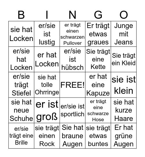 Aussehen Bingo Card