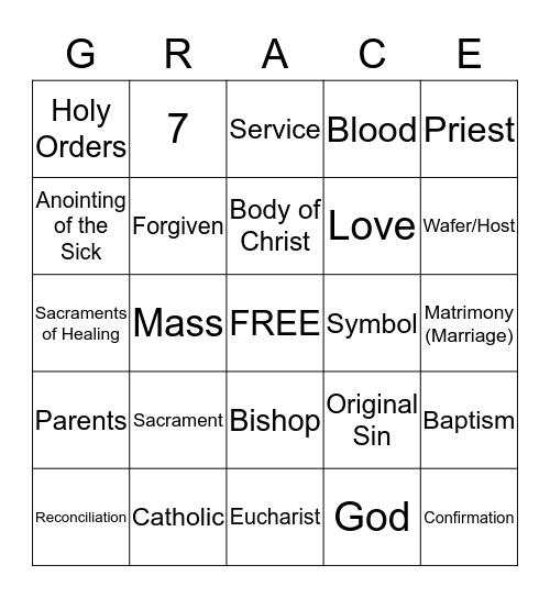 Sacrament Bingo Card