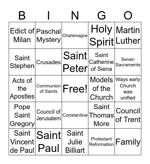 8th grade CCD: Chapters 1-18 Bingo Card