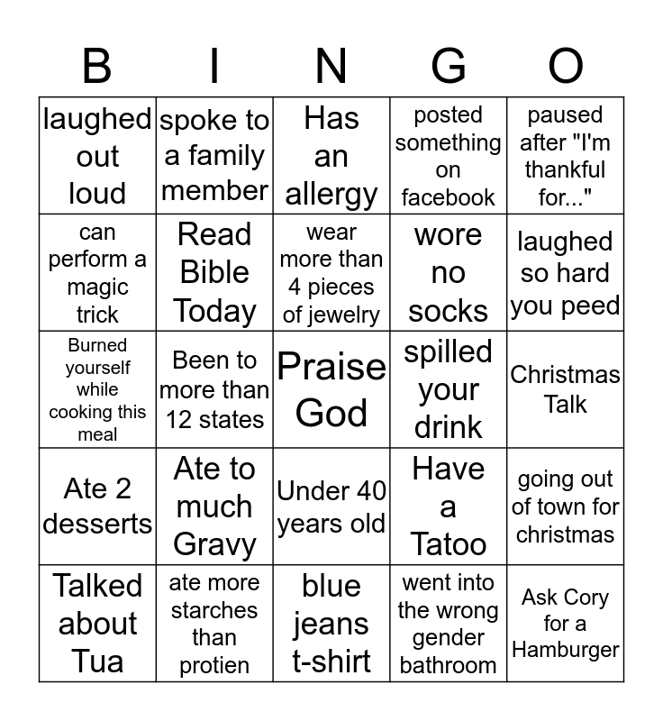 FRIENDSGIVING 2019 Bingo Card