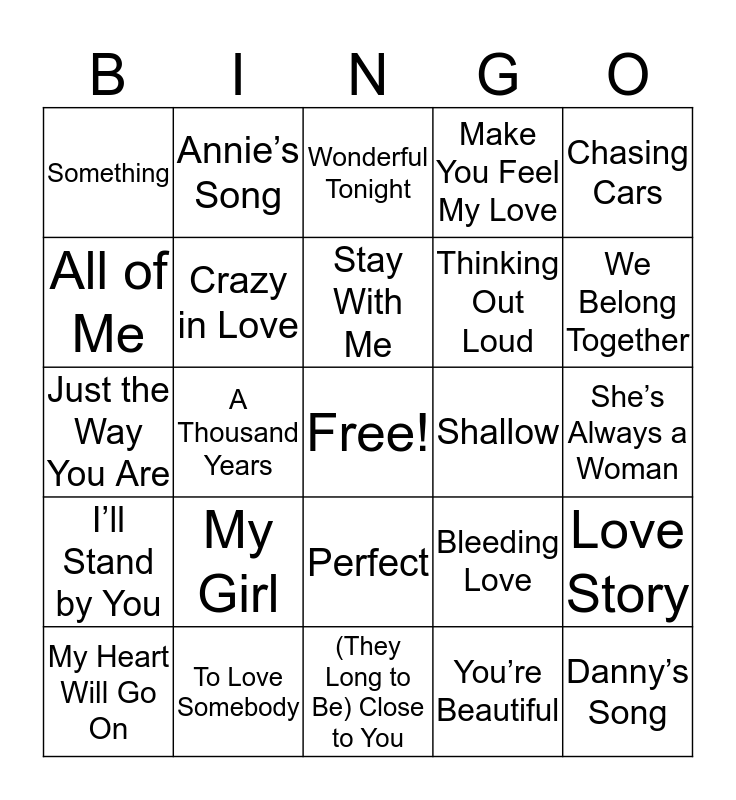 Love Songs Bingo Card