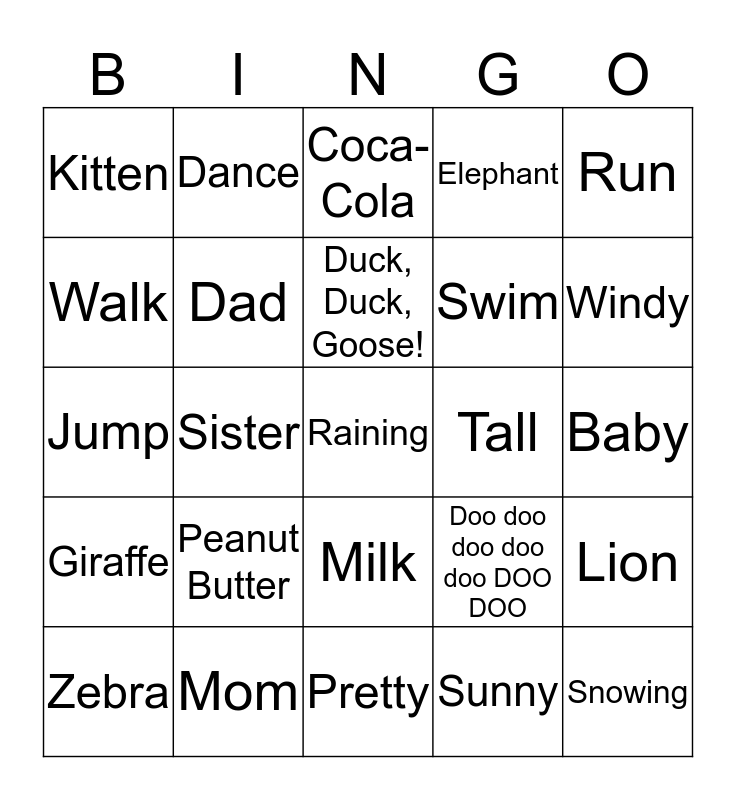 She's My Mom  Bingo Card