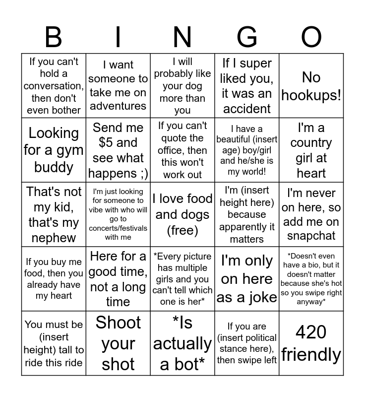 Girl's Tinder Bio Bingo Card