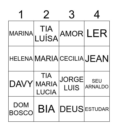 BINGO DA CAMILE Bingo Card