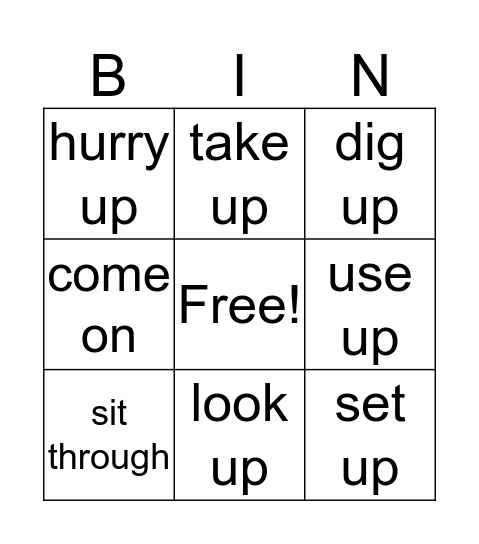 Phrasal Verbs 2 Bingo Card