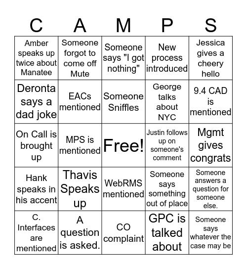 PMO CAMPS! Bingo Card