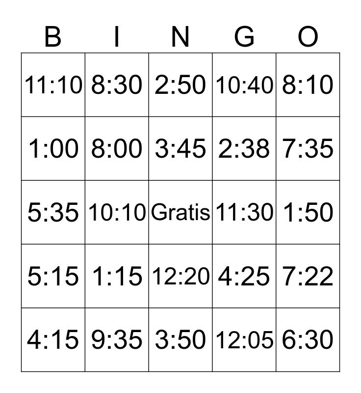 Time Bingo Card
