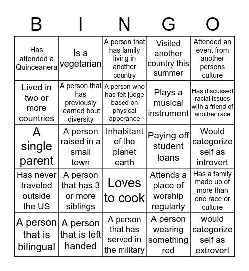 Diversity Bingo Card