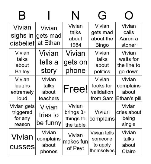 Vivian Bingo Card
