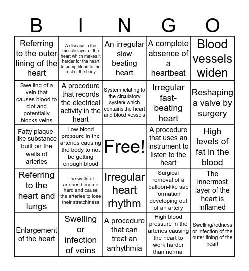 Pronunciation of Med Term Bingo Card