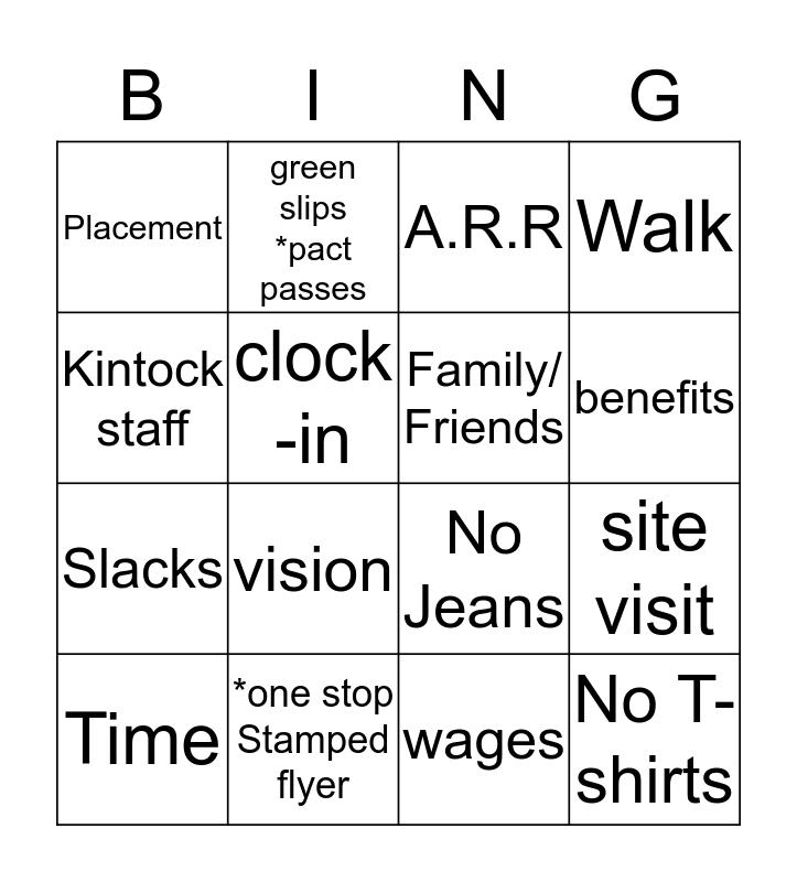 Employment Bingo Card