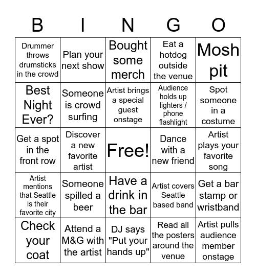 Showbox Bingo Card